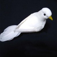 Wholesale Feather Mounts - Wholesale- 10PCS,13*4*6CM Small White Birds Artificial Feather Foam Doves,DIY Bird Ornaments,Decoration for Wedding Party,Christmas,Home