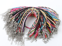 Wholesale love braided bracelet for sale - 100pcs Multicolor Leather Braided Charm Chains Big Hole Beads Bracelets Love For Bead Lobster Clasp