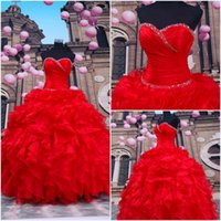 Robes de debutantes rouges Prix-2015 Robes de quinceanera rouge Lace-Up Sweetheart Sweet 16 Robes Robe de bal Debutante Robes de bal Robes de débardeur Dhyz