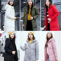Wholesale Long Goose Coats For Women - 2018 New Winter Down Warm Jacket Coat Hooded With Collar Parkas Female Thickening Cotton Outwear Parkas For Women Winter