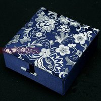 Wholesale Wholesale Cotton Filled Jewelry Boxes - Cotton Filled Square Gift Box Bracelet Jewelry Display Box Storage Case Chinese Silk Brocade Cardboard Decorative Bangle Packaging Boxes