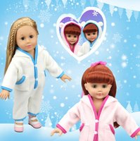 Wholesale 18 Baby Doll Clothes - 18 Inches LoL Baby Doll Clothes Winter Bear Rompers with Hat American Girl Baby Doll Dress up Clothes Blue Pink 10 sets Free ship