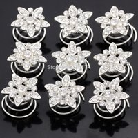 Wholesale Spin Pin Hair Clips - Wholesale 60 x Rhinestone Diamate Crystal Wedding Bridal Hair Spin Pins Twists Coils Flower Swirl Spiral Hairpins Fashion Jewelry