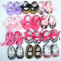Wholesale Girls Soft Ballet Shoes - mix 10 color 10 pairs Baby Toddler lace shoes non-slip shoes bow Shoes girls' Princess shoes Baby Soft Sole Shoes Ballet Style Shoes