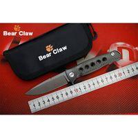Wholesale Fiber Fox - BEAR CLAW Dr Death Mayo bearing Folding Knife D2 Blade Titanium Carbon Fiber handle Camping Hunting Knives Outdoor EDC Tools