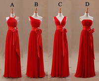 Wholesale Tight Floor Length Dress - Fashion Red Bridesmaids Dresses Tight Pleats Elegant Bow Knot Chiffon Long Designer Plus size Bridesmaid Party Dresses