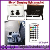 pc operating NZ - (8 pcs +1 fly case  lot) Infrared remote control RGBWYP 6x18W Led wireless dmx battery operated led wedding decoration uplights