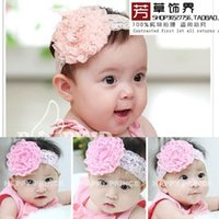 Wholesale Red Big Flower Hair Bands - Super Cute Baby Infant Big Flower Headwear Lace Newborn Props Baby Girl Headband Hair Band Lovely Accessories C139