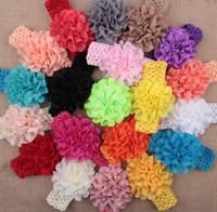Wholesale Crochet Headband Big Flower - 50 pcs baby Headwear Head Flower Hair Accessories 4 inch Chiffon flower with soft Elastic crochet headbands stretchy hair band Big Layered