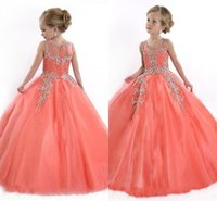 ingrosso fiori di perline di corallo-2016 Girocollo Pizzo Applique Tulle Girls Pageant Abiti Principessa Crystal Beads White Coral bambini Flower Girls Dress Abiti da festa di compleanno