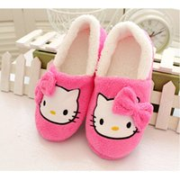 Wholesale Boys Home Slippers - New Winter Soft Sole Shoes Novelty Cat Cartoon Plush Warm Home Slippers for Girls Boys, Pink, Hot Pink Thermal Indoor Slippers Gift