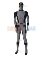 Wholesale Costumes For Kids Deadpool - Black & Grey New Custom Deadpool Superhero Costume spandex gray deadpool costume with belt for halloween free shipping