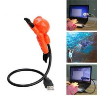 USB Desk Lamp Diver Shape Flexível Portátil USB Mesa Desk Led Lamp Quente Branco Light Computador Nightlight KKA3409
