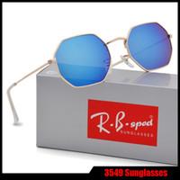 Wholesale Polygon Mirror - Brand sunglasses men women new arrival Polygon sunglass feminino masculi mirror sun glasses oculos de sol with brown cases and box