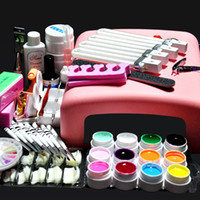 Wholesale Kit Professional Nails Pink - Hot Sale Professional Pro 36W UV GEL Pink Lamp & 12 Color UV Gel Nail Art Tool Kits Sets,DHL free,wu