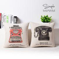 Wholesale European Style Telephones - European Retro Vintage Style Telephone Typewriter Cushion Covers Life English Letters Cushion Cover Decorative Linen Cotton Pillow Case