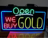 """Wholesale Green Lighting Company - OPEN WE BUY GOLD Neon Sign Real Glass Tube Lighting Indoor Shop Store Company Business Advertise Decoration Neon Light Fast Shipping 30""""X18"""""""