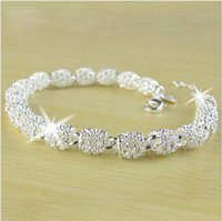 Wholesale Silver Ball Beads Wholesale - New 2015 Women Bracelet Bangle Jewelry Top Quality 925 Sterling Silver Chain Bead Ball charm Bracelets & Bangles Free Shipping