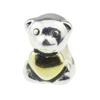3 mm altın kaplamalı boncuklar toptan satış-Boncuk Hunter Takı Otantik 925 Ayar Gümüş Loving Altın Kaplama Teddy Bear Charm 3mm Avrupa Bilezik Için büyük delik boncuk yılan zincir