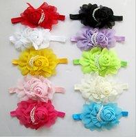 ingrosso la fascia del fiore del copricapo della perla di rosa-Il nuovo 10 colori 10 pezzi fascia per capelli per bambini all'ingrosso perle rose fiore bambini fascia copricapo fascia per bambini