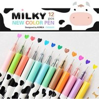 Wholesale Pen Deco - 12 Multi Colors Kawaii Cow Gel Pen Ink Stationery Gift Supplie Deco Albums School Set Painting Tool Drawing Free Shipping