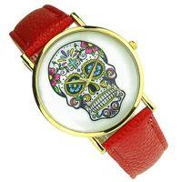 Wholesale Modern Skull - 10pcs lot Fashion Electronic Wrist Watch Cartoon Skull Pattern Leather Watch Band Unisex Casual Wristwatch sw011
