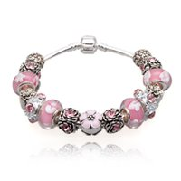 Wholesale Silver Bracelets For Murano Beads - Elegant Charm Bracelets Pink Murano Glass Beads & Cubic Zirconia Silver Charms Snake Chain Bangle Bracelets for Women BL034