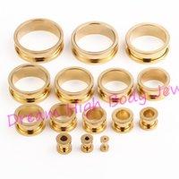 Wholesale 316l Ear Plugs - Gold Flesh Tunnel Ear Plug Expander Piercing Fashion Body Jewelry Screw Hand polishing 2mm to 30mm 316L Stainless Steel Titanium