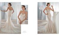 Wholesale Demetrios Mermaid Wedding Dresses - New Arrival 2016 Mermaid Wedding Dresses Mermiad Demetrios bride Bridal Dress Beaded Covered Zipper Gowns Crystal Bodies 609