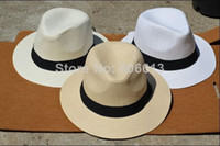 Wholesale Wholesale Men Fedora Hats - Summer Cool Men's Panama Style Wide brim Cap Fedora Straw Made Beach Hat , 6PCS LOT Free shipping