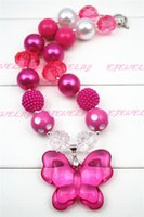 Wholesale Hot Pink Butterfly Necklace - Hot Pink Butterfly hot pink Beads chunky necklaces for girls and kids CB257