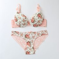 Wholesale Woman Flower Underwear - famous brand sexy high quality women print bra set silk lace flower push up big size underwear bow bra and hollow out panties