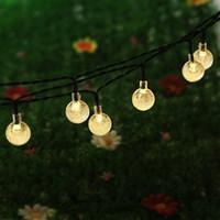 bahçe için top lambaları toptan satış-16.4Ft 5M 30 LED Crystal Ball Güneş Dış Veranda Parti Noel Güneş Peri Işık Yaylılar için Işık Açık Dize Işık Powered