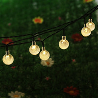 Wholesale christmas led lights outdoors - 16.4Ft 5M 30 LED Crystal Ball Solar Powered Light Outdoor String Light for Outside Garden Patio Party Christmas Solar Fairy Light Strings