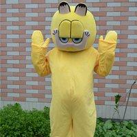 ingrosso garfield di halloween-GARFIELD gatto caffè gatto costume della mascotte gatto giallo vestito di alta qualità per adulti dimensione del partito Halloween spedizione gratuita Produttore di costume