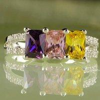 citrino de ouro branco venda por atacado-A0095-10 esmeralda rosa corte topázio ametista citrino gemas18k branco banhado a ouro tamanho do anel 10