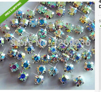 Wholesale Crystal Sew 5mm - Wholesale-Loose beads Free shipping 720pcs 5mm 5 Gross CLEAR AB SEW-ON GLASS DIAMANTE RHINESTONE CRYSTAL m08