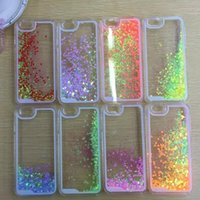 ingrosso copertura di caso di iphone4 4s-Glittering galleggiante Cuore Running Quicksand Liquid Dynamic Hard Case trasparente trasparente brillante Cover per iPhone4 / 4s / 5 / 5s / 6 iphone 6 plus