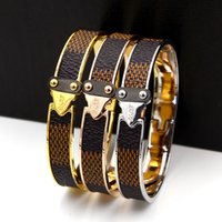Wholesale Leather Bracelets Names - Top brand 316L Titanium steel Brown Plaid Leather bangles brand name Gold buckle bracelets Belt Fashion wedding jewelry Free Shipping