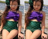 Wholesale Swimming Suits Childrens - 2016 kids swimming costumes Summer mermaid swim suit girls swimsuits Cute Childrens swimwear bikinis Fashion Split Girl Swimsuit A5157