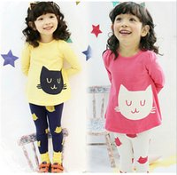 Wholesale Cat Long Sleeves Suit - Girl Clothes Spring Autumn Cat Printing Long Sleeve Dress + Leggings 2pcs Children Casual Set 2-7Age KIds Suit
