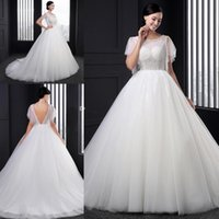 Wholesale Cheap Wholesale Beach Balls - 2016 Wedding Dresses Short Sleeves Bridal Ball Gowns With Crystals Plus Size Vintage Cheap Backless Long Wedding Dresses