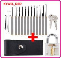 Lock Pick Set, Practice Lock Picking Set, Visible Lock Training Set Trainer with 15 Pieces Tools and Transparent Practice Padlock
