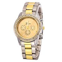 Wholesale Bling Wristwatch - Watch Geneva Unisex Quartz Watch Women Analog Wristwatches Bling Crystal Clocks Stainless Steel Watch Relogio Reloj