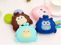 Wholesale Sell Candy - Candy color cute cartoon silicone coin bag bag key bag sell owl zero wallet 4 color