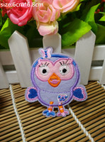 Wholesale Ironing Label - 6cm*6.8cm New fashion owl cartoon characters Badge Iron on Patches of Stickers, Soccer team Woven Label Patch Wholesale, DIY Cloth Accessori
