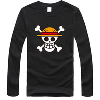 Wholesale One Piece Luffy Shirt - Wholesale-One Piece T Shirt Luffy Straw Hat Japanese Anime T Shirts Cotton O-neck long sleeve T-shirt Men Anime Design One Piece T-shirt