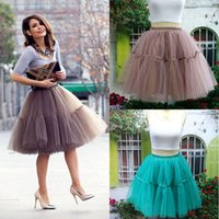 Wholesale Tulle Crinoline Skirt - Vintage Petticoats Colorful 1950s Style Short Mini Tulle Tutu Skirts Underskirt Elastic Waistband Satin Band Petticoats For Dress Skirts