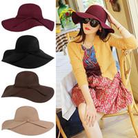 gömlekli kışlık şapka toptan satış-Kadın Şapkalar Kadınlar Için Fascinator Şapkalar Kap Lady Geniş Brim Yün Keçe Bowler Fedora Şapka Disket Şapka Kadınlar Için Şapka Kış Şapka