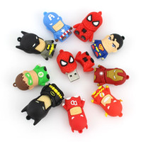 Wholesale Superman Cartoon Usb - Cartoon pendrive u disk America Captain Superman Spiderman Batman pen drive Super hero 2GB 4GB 8GB 16GB USB Flash Drive + Box